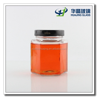 Trade price 380ml empty hexagonal clear honey jar jam jar with mental lid