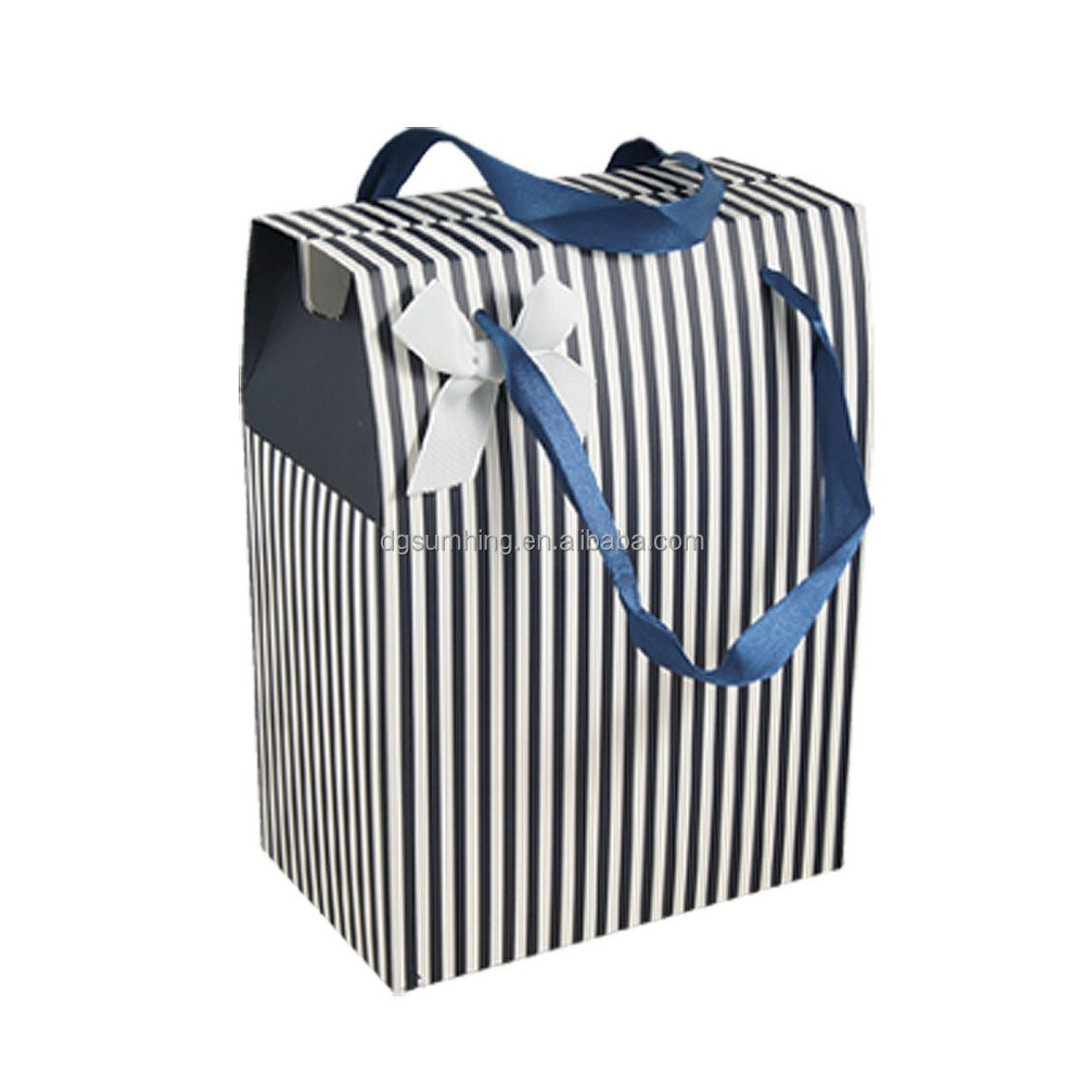 paper gift bag black and white striped gift bag