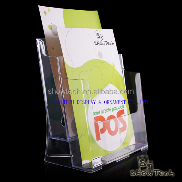 Portable 2 tiers clear acrylic brochure holder standee in Europe ST-BHA5-2T