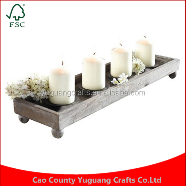 Gifts Crafts Ornament Home Furnishing Fashion Simple Design Handmade Wooden Tealight Candle Holder tray