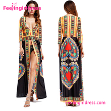 Fashion Attractive Long Sleeve Summer Party Maxi African Kitenge Dress Designs