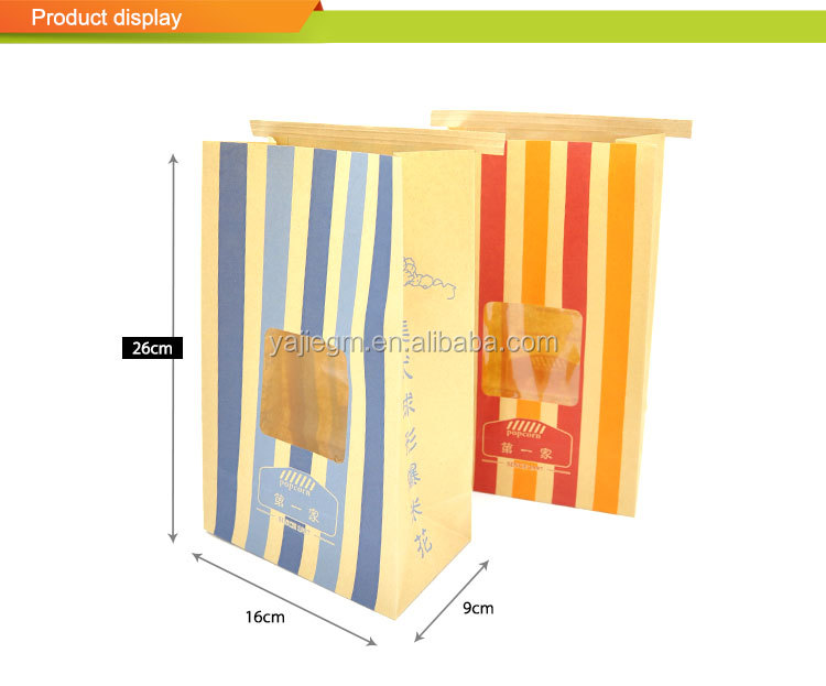 Wholesale PP Window Popcorn Brown Kraft Paper Bag