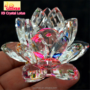 Factory Sale Elegant Wedding Decoration Colorful Crystal Lotus Lamp
