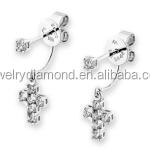 Gorgeous 18K 0.400CT white gold Diamond 3 stone engagement women earrings princess cut halo oval shapes round wedding earring