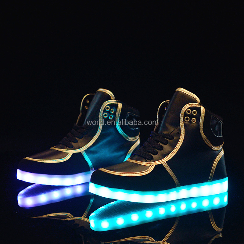 New design high top led shoes with 7color light up led shoes mens color changing shoes