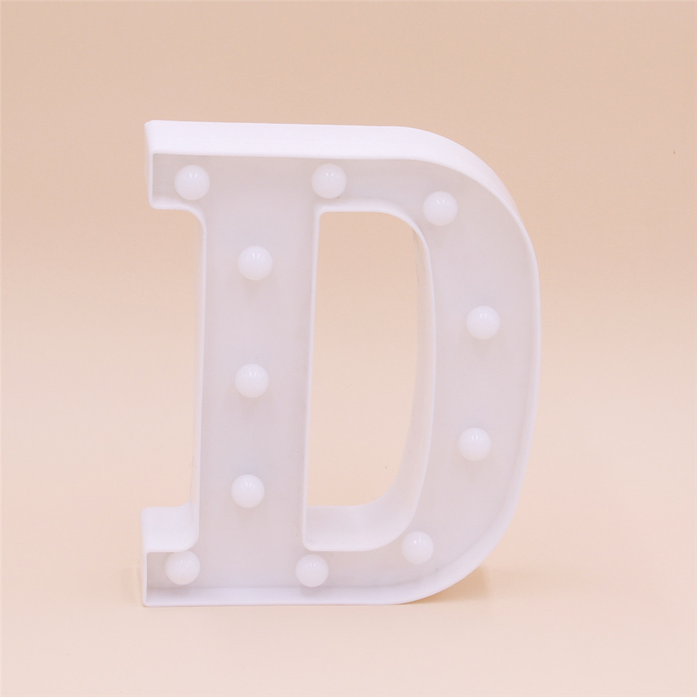 DREAM White Plastic Marquee <strong>LED</strong> Letter Christmas Ornament Battery Operated Alphabet Light