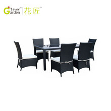 Wholesale outdoor wicker dining table and chairs ratan dining set furniture