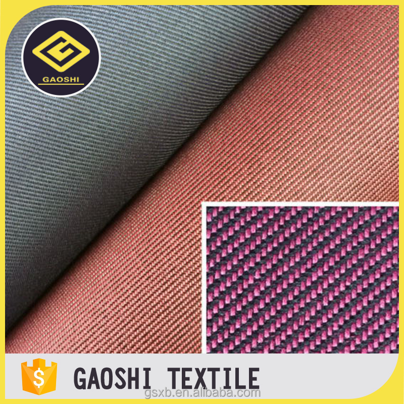 Low cost high quality 100 polyester PVC coated two tone twill fabric for bag and luggage