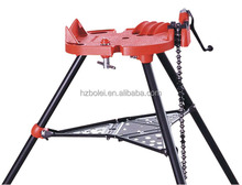 Portable tri-stand chain pipe vise with folding stand
