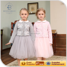 Bonnybilly new winter collection two piece set sweater longsleeved dress set children long frocks designs