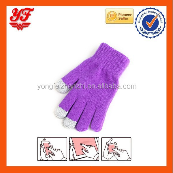 Favorites Wholesale touch glove knitting texting oem logo smartphone custom i touch gloves