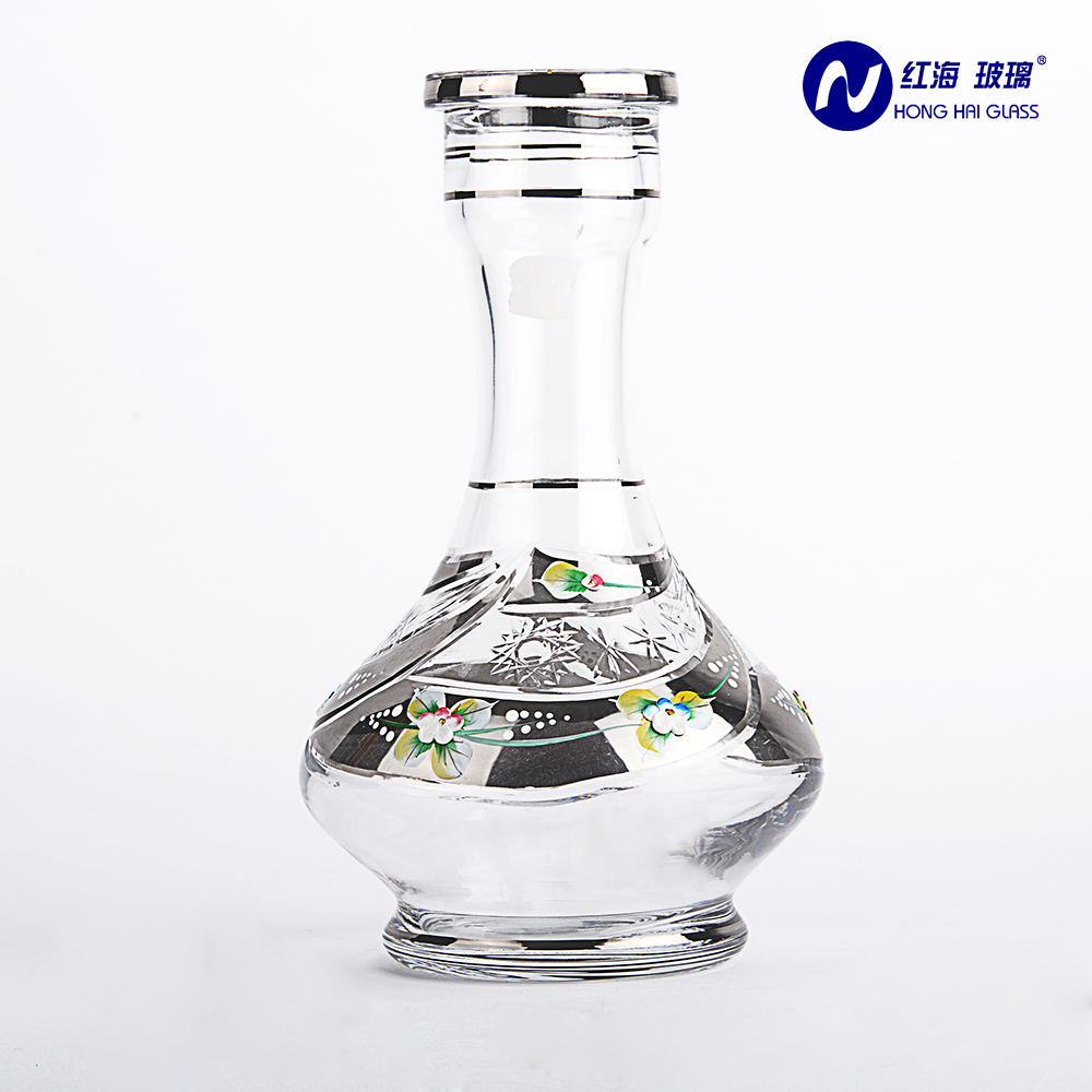 wholesale crystal 0197Y silver color transparent glass clear shisha hookah base handdrawing with platinum