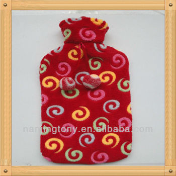red rubber hot water bottle cover