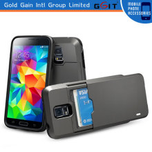 Hybrid Hard Case with ID Credit Card Slot Stand for Samsung S5 i9600