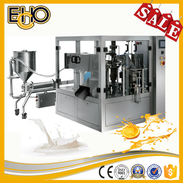 High speed multifunction rotary stand up pouch vingar fill seal packing machine