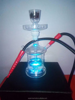 Clear Glass Hookah Shisha nargile and Silicon Hose With a luxury Leather case