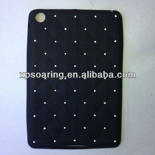 Black fancy silicone case back cover for mini ipad