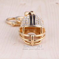 2015 best selling high quality gold plated rhinestone metal keychain helmet