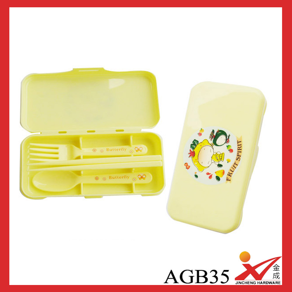 Plastic Box Package Spoon Fork Chopstick Children Cutlery Set