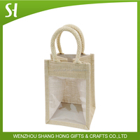 clear jute bag with window/small jute wine bag with cotton material handle