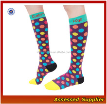 Custom Knee High Athletic DOTS Compression Socks/High Compression Blank Dots Travel Socks
