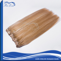 Wholesale Top Quality Full Head Double Drawn European Virgin Hair Extension Cheap 100% Human Hair Clip in Hair Extension