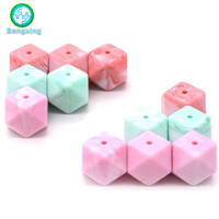 2018 Wholesale New Colors Silicon Hexagon Food Grade Baby Teething Silicone Beads