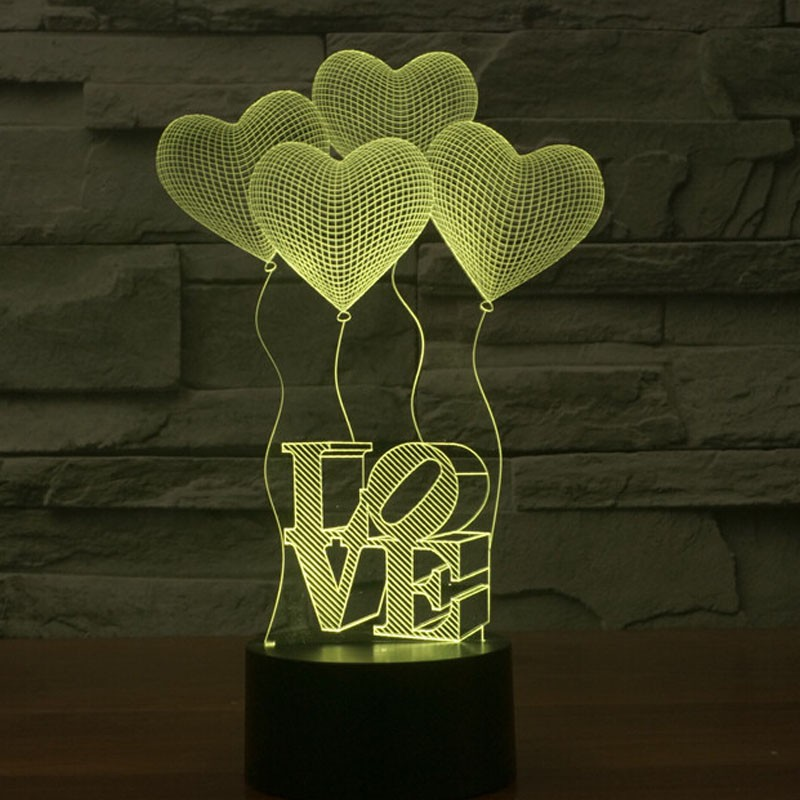 Creative Wedding Decoration Magic 3D Night Light LED 7 Colors Flashing Touch Control Romantic Night Light