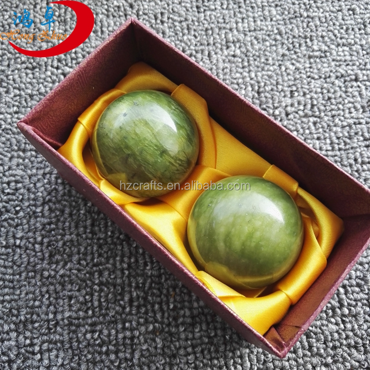 Chinese health jade massage ball green Xiuyan jade massage ball