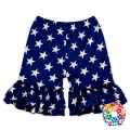 Kids Girls 4th Of July Ruffle Capri Pants Navy Stars Print Baby Pants Ruffle Shorts For National Day