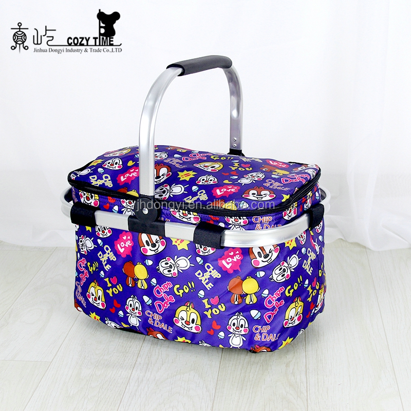 Wholesale Foldable Aluminum Framed 4 Persons Picnic Basket Set In Insulated Cooler Bag