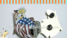 3D metal badge with glitter color and rubber clasps