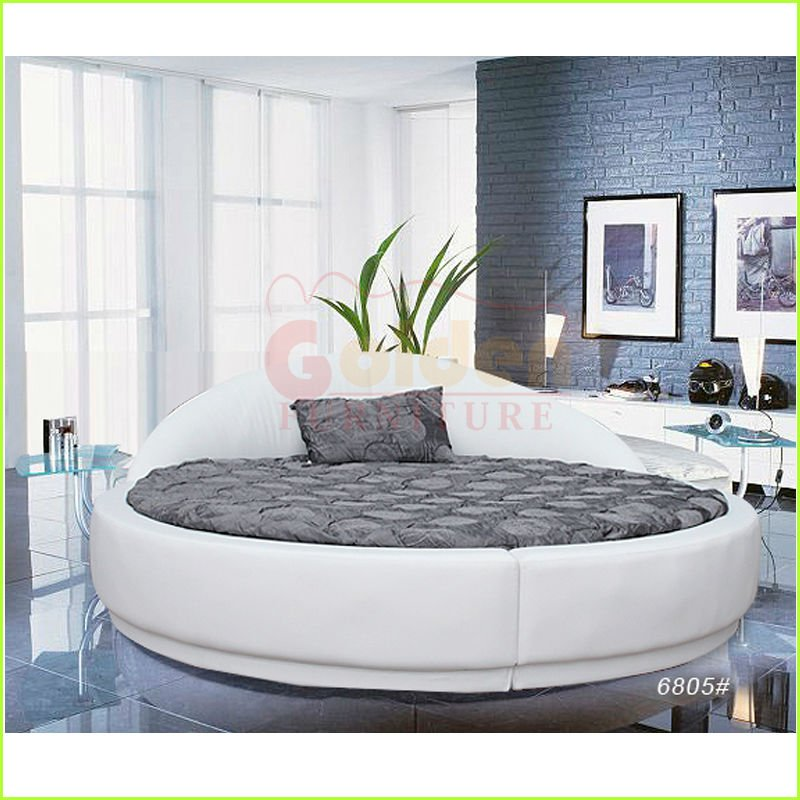 white leather cheap round bed on sale romantic bedroom sex furniture