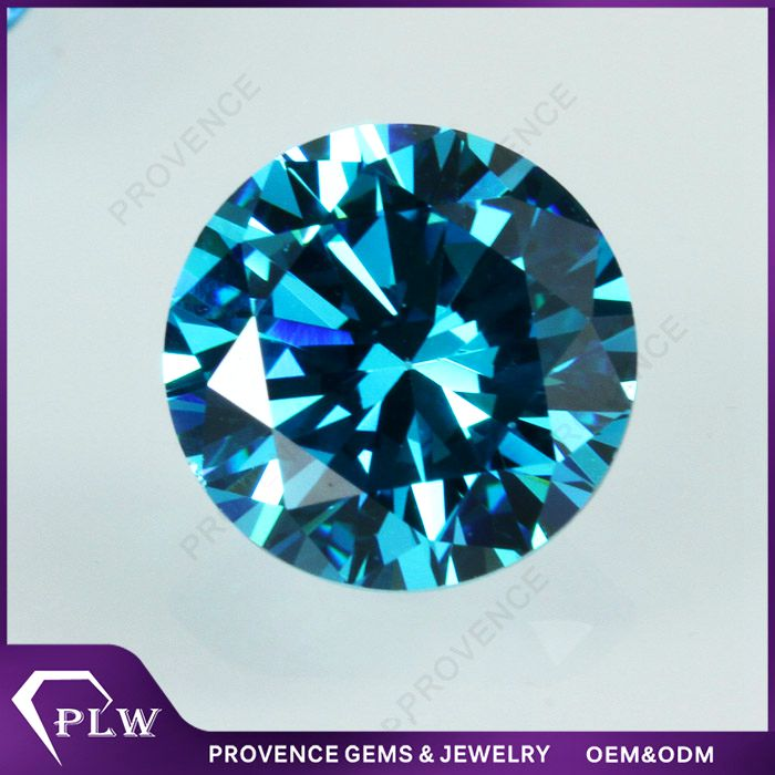 Wholesale Price Synthetic Round Brilliant Cut Aquamarine Blue Cubic Zircon Stone