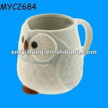 Little owl shaped ceramic cute mug for kids buy ceramic for Animal shaped mugs