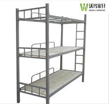 China high quality cheap metal iron army dormitory hostels 3 level 3 sleeper triple steel pipe bunk bed