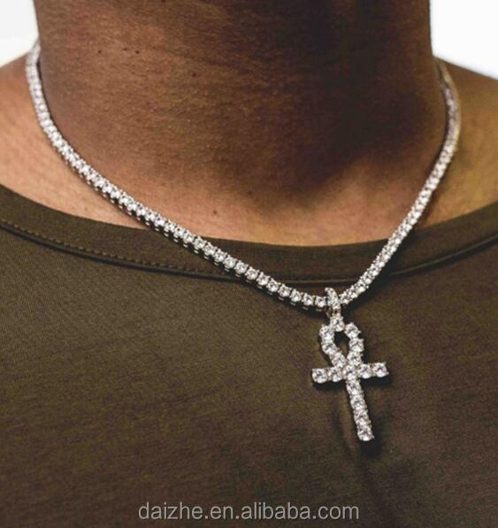 top quality factory 5mm cz <strong>1</strong> raw crystal paved hip hop bling lab diamond tennis cross men necklace