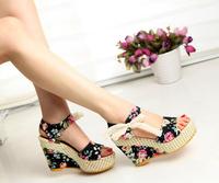 Women Lady Bowknot Open Toe Pump Floral High Heel Shoes Stiletto Wedge Platform Sandals