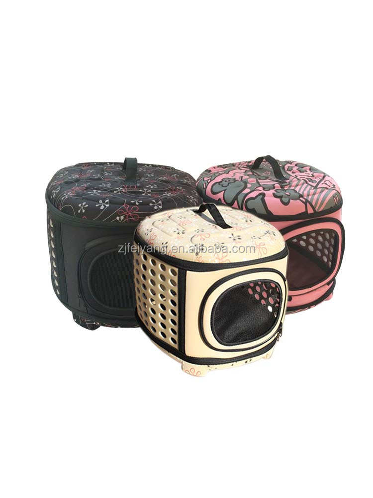 Factory fashion soft side travel fold portable pet dog, cat carrier pet bag ,with handle/pad