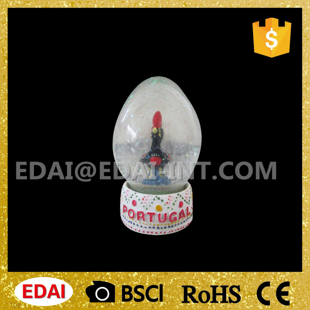 Glittery Portugal mascot barcelona rooster souvenir in water snow globe