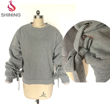 Loose Fit Casual Girls Woman Long Sleeve Binding Designs Top Pullover
