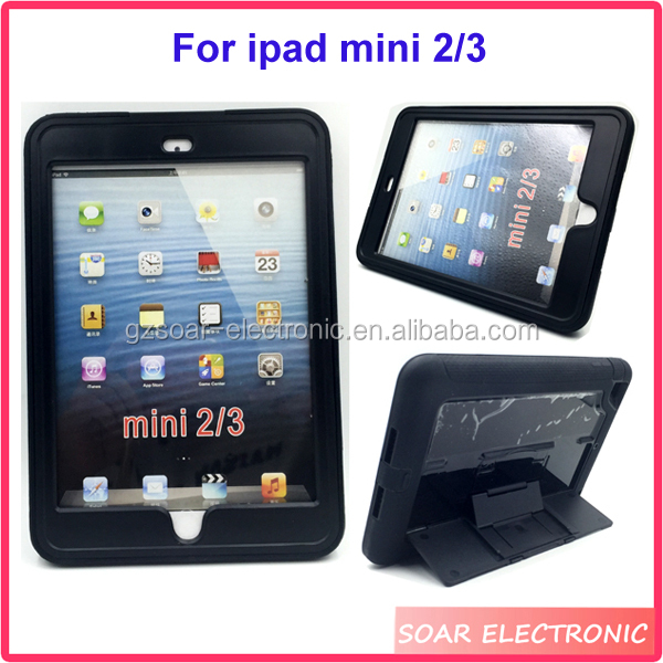 Anti shock rugged kickstand hybrid cover tablet case for ipad mini 2/3