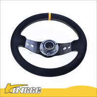 HOT SALE 14 inch / 350mm Steering Wheel Sport Racing Genuine Suede Steering Wheel Fit Most Boss Kit