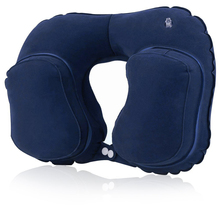 SGS Inspection Accepted Novelty PVC Folding U Shape Travel Neck Pillow Air Inflatable Pillow With Pouch