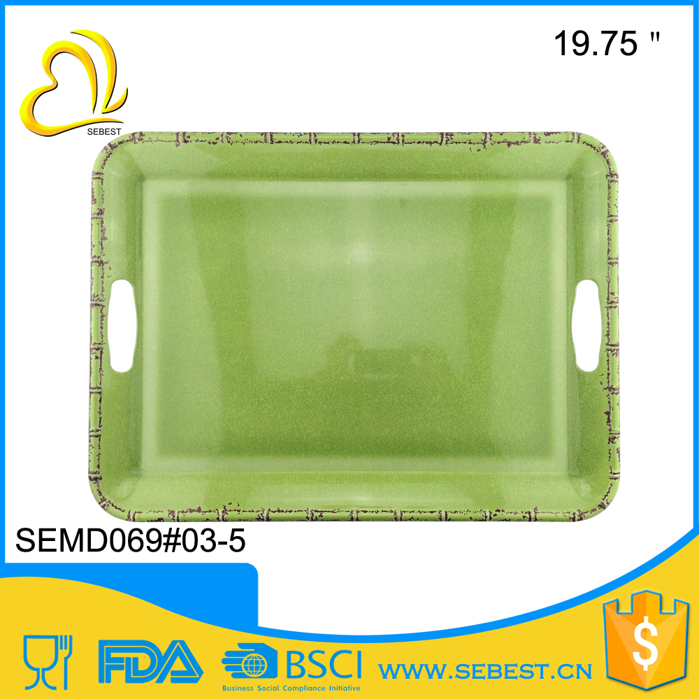 wholesale custom large serving melamine plastic tray for food