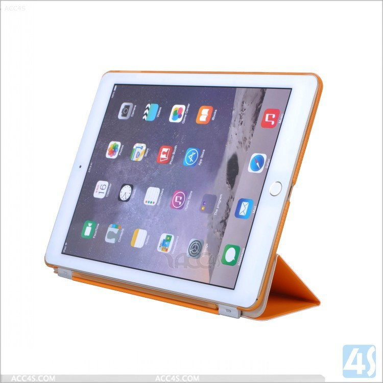 "For Apple 9.7"" iPad three fold stand microfiber Smart Cover Leather Case for iPad Air 2"