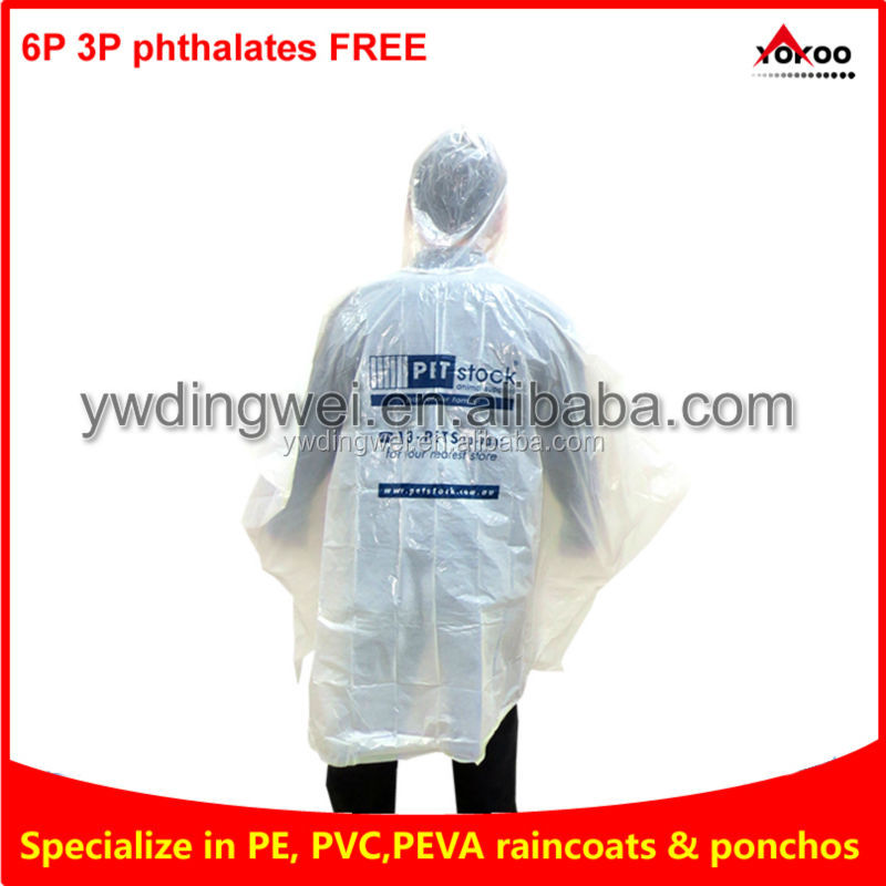 cheap Adult PE Rain Poncho with logo printing for Promotion