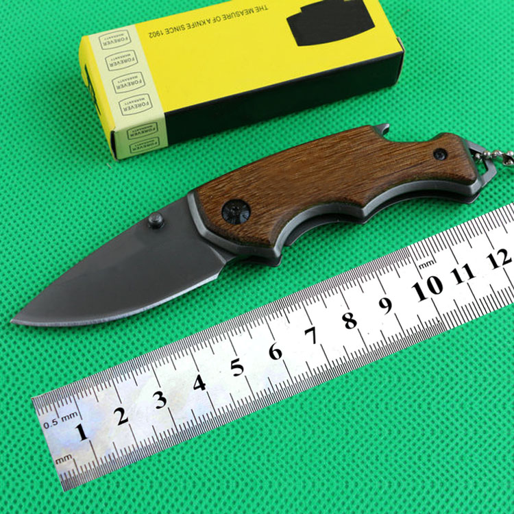 Small folding pocket knife wooden handle mini knife with bottle opener