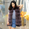 CX-G-B-18A Keep Warm Coat Lady's Fashion Purple Color Fox Fur Vest