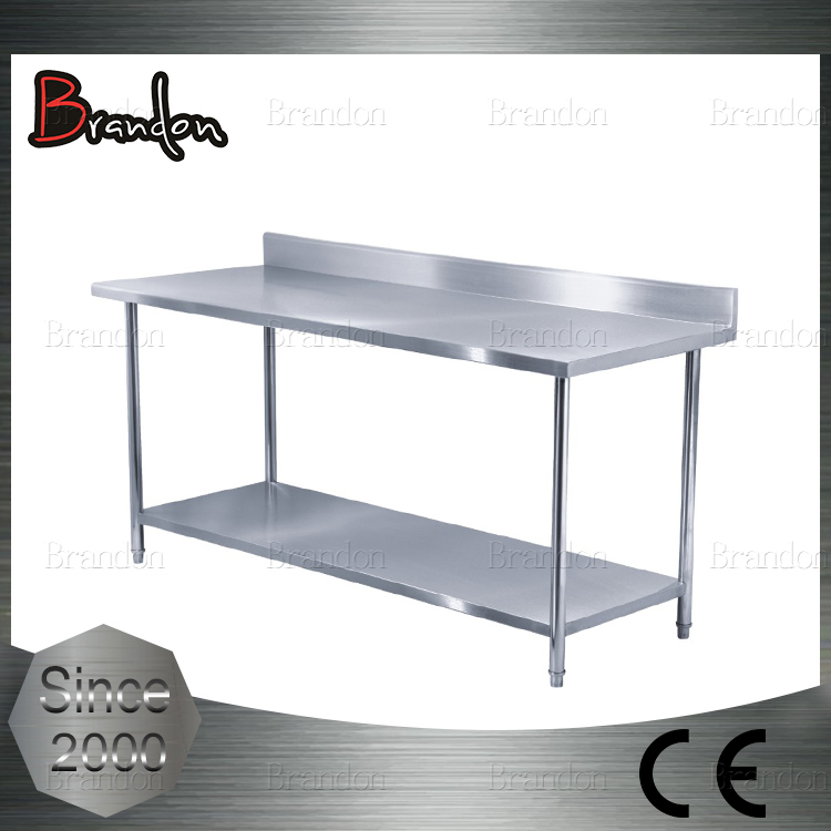 Brandon double tier stainless steel mobile work table with backsplashes